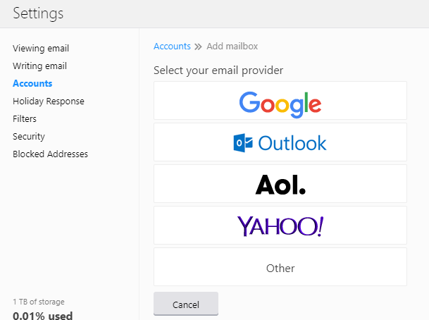 select the mail provider you want to add