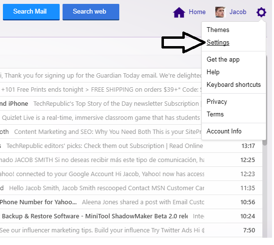 Go to settings in yahoo mail