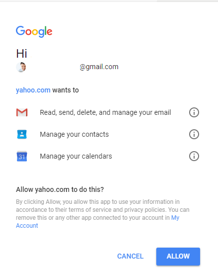 allow permissions to your account