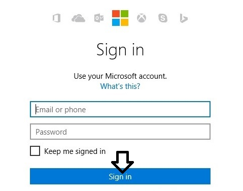 sign in into microsoft account