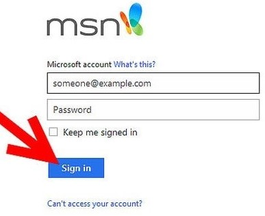 login into MSN mail account