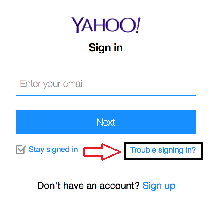click on trouble signing in