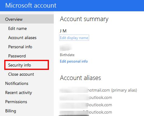 edit security info