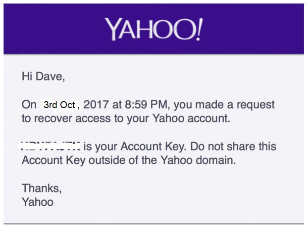 Yahoo account key and click next