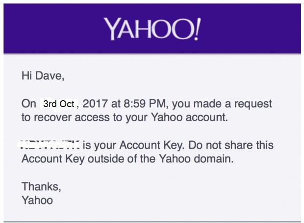 Yahoo account key and click next