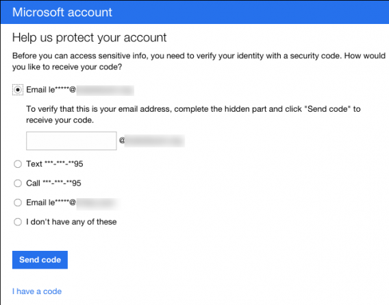 select number or email id