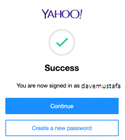 enter yahoo account key and fill the on-screen information