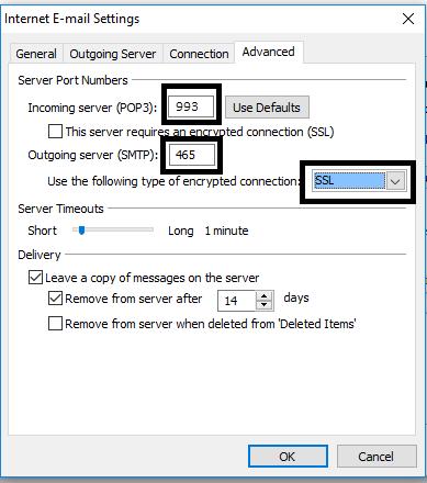 enter the server details