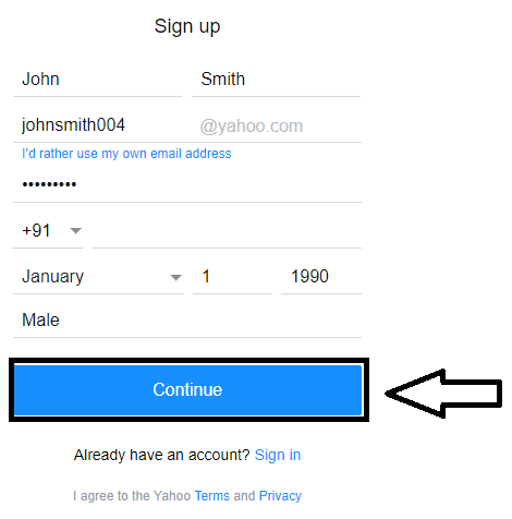 Yahoo sign up page, fill the basic information