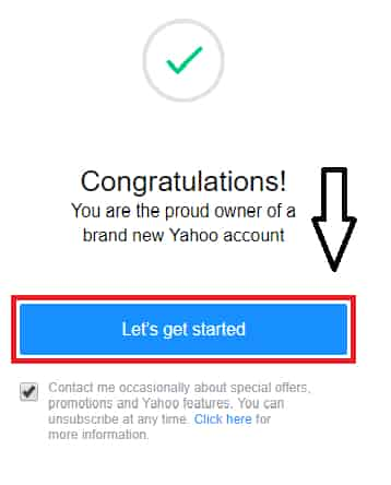 yahoo mail account created