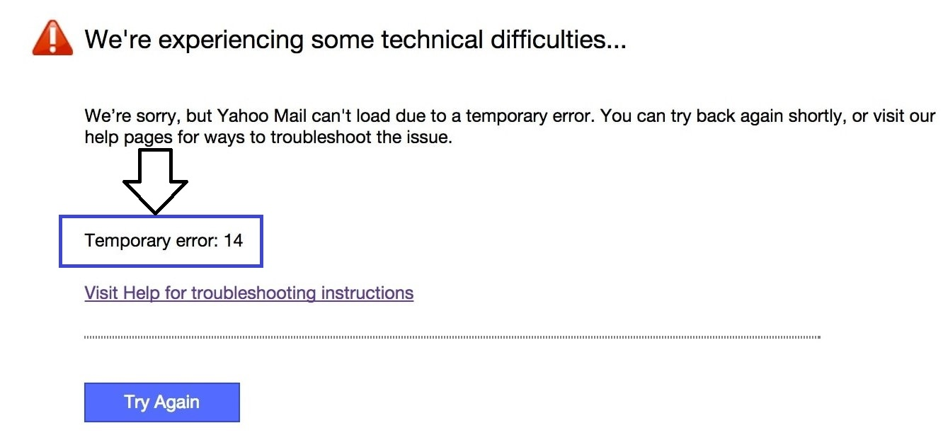 Fix Yahoo Mail Temporary Error 14