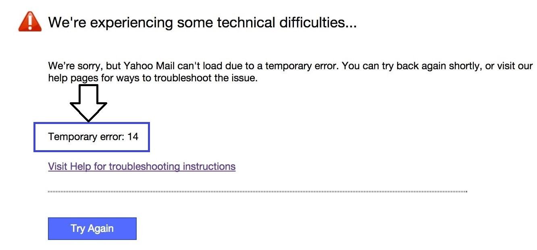 Fix Yahoo Mail Temporary Error 14