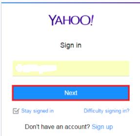 Yahoo log in