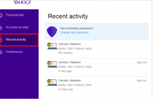 Yahoo Recent activity page